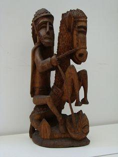 Louco. São Jorge (1981). 66x30 cm Arte Popular, Popular Art, Sculptures, Lion Sculpture, 30, Statue, Saint George, Activity Toys, Saints