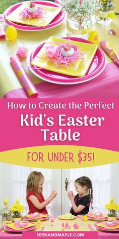 This bright pink and yellow Easter Table is perfect for your kids and their peeps, and you can create it all with a budget under $35! Get the details on the place settings, centerpieces, favors and more at fernandmaple.com!