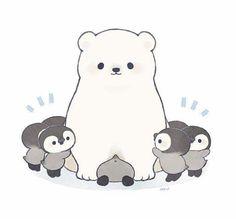 Polar bear and penguins cute animals, wattpad, fictional characters, art, p Arte Do Kawaii, Kawaii Art, Cute Kawaii Drawings, Kawaii Doodles, Polar Bear Drawing, Cute Polar Bear, Polar Bear Cartoon, Cute Kawaii Animals, Cute Penguins