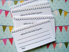 Letterpress Advice Cards  bride and groom pack of by LuckyBeePress, $12.00