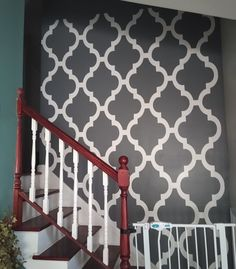 Create a beautiful accent wall in a weekend with iStencils! #stenciledwall #iStencils #interoirdesign Stencil Wall Art, Custom Stencils, Stairs, Create, Wallpaper, Beautiful, Home Decor, Stairway, Decoration Home