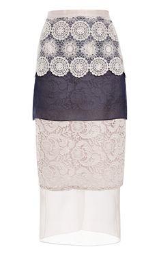 93ec3eb75f Shop Mixed Silk And Cotton Lace Skirt by Ruban for Preorder on Moda  Operandi Falda Modelo