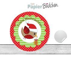 """www.papierbuedchen.de - 24 Aufkleber """" Piepmatz Geschenk """" (W2) - Weihnachten"""