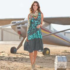 FREE SPIRITS DRESS -- Our beautiful abstract horse print unites with a color blocked hem giving an effortless new dimension to our silk dress. Hidden on-seam pockets. Sizes XS S to M to L to XL Approx. Summer Outfits, Cute Outfits, Summer Dresses, Summer Clothes, Unique Clothes For Women, Made Clothing, Clothing Styles, Mid Length Dresses, Weekend Wear