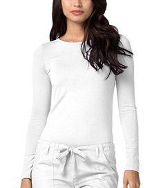 9b4bb74c4a9 Adar Womens Comfort Long Sleeve T-Shirt Underscrub Tee - 2900 - White - L