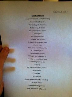 Our generation poem- Quite powerful... It's about perspective (read it forward and then backward)