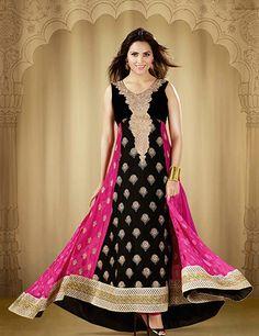 G3 Fashions Lara Dutta black magenta brasso georgette unstitch salwar suit Products code: G3-WSS2799 Price:  ₹ 4780.00