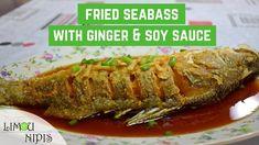 Recipe: - 1 seabass (coated with 1 tbsp salt, 1 tsp turmeric powder and 3 tbsp corn flour) - tbsp light soy sauce - 2 tbsp lime juice - 1 inch ginger - Sauce Recipes, Fish Recipes, Seafood Recipes, Vegan Recipes, Ginger Sauce, Soy Sauce, Whole Sea Bass Recipes, Jasmine Rice, English Food