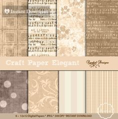 VINTAGE Digital Paper Craft Digital Paper by SparkalDigitalDesign, $4.90 #craftPaper #DigitalScrapbooking