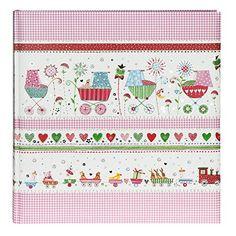 Goldbuch 15014 Luna - Álbum de fotos para bebés (31 x 30 cm, 64 páginas, diseño de carritos), color rosa  #madre