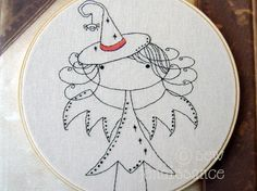 Embroidery Pattern PDF Bat Witch Autumn and Fall Halloween Girl