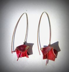 Red earring silver ring handmade earring author's by Fleurs7
