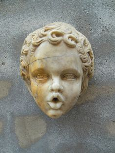 #Putto. Head in #Carrara #marble (element of a fountain). Rome, Italy. End of the #16th century. For sale on Proantic by Lazzara Arte.