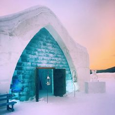 A sunset stop at the stunning is just one destination on our winter wonderland trip to Quebec City. Ice Hotel, Quebec City, Winter Snow, Winter Wonderland, Hotels, Fair Grounds, Canada, Explore, Sunset