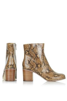 Topshop Bless snake boots in tan