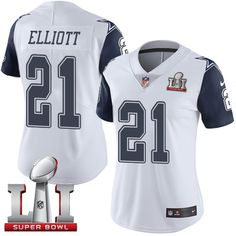 Nike Dallas Cowboys Women s  21 Ezekiel Elliott Limited White Rush Super  Bowl LI NFL Jersey 314ed9d76