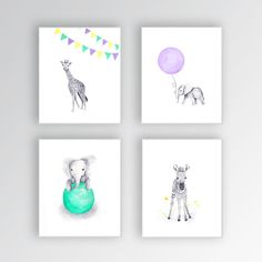 Zebra Canvas Art, Baby Girl Nursery Art, Animal Watercolor Paintings, Elephant Nursery, Zebra Nursery Art, Set of Four - S425