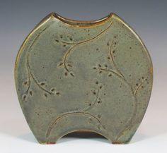 Green ceramic vase, handmade, stoneware pottery, made from slabs