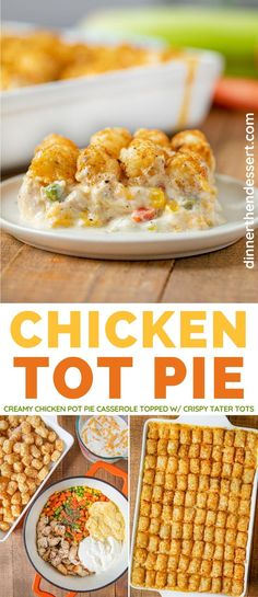 Chicken Tot Pie is an easy fun twist on classic pot pie topped with crispy tater tots! Chicken Pot Pie Casserole, Casserole Dishes, Casserole Recipes, Tatertot Casserole Recipe, Easy Tater Tot Casserole, Hamburger Casserole, Comfort Food, Easy Dinner Recipes, Fun Dinner Ideas