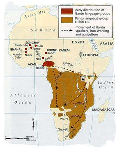 Map showing origination and southward migration of the Black people in Africa - The Amazing Bantu Migration and the Fascinating Bantu People