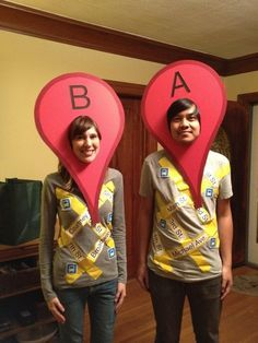 A t-shirt, some yellow tape and some red paper is all you need to make a DIY Google Maps marker costume. Use different letters to make it a couples' or group costume.