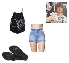 """Walking on beach with Ashton"" by x5sauceloverx on Polyvore featuring Kendall + Kylie and Havaianas"