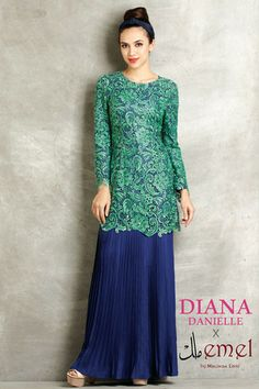 Embroidered Lace Baju Kurung with Pleated Skirt http://www.emelbymelindalooi.com/collections/baju-raya-2014-emel-by-melinda-looi-dd-x-emel