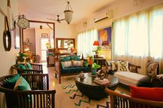 Sujatha and Bharath live in their 1500 sqft flat in Madras (Chennai). Are you stuck on the title? I agree, it is a bit cryptic, but when you read through this home tour, and see the photogra… Indian Home Interior, Indian Interiors, Ethnic Home Decor, Asian Home Decor, Decorating Blogs, Interior Decorating, Interior Designing, Best Interior Design Blogs, Living Room Decor