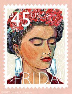 Frida Kahlo, en 2001 la oficina de correos de Estados Unidos imprimió una estampilla en su honor, coronándola así como la primera mujer hispana en recibir este reconocimiento.