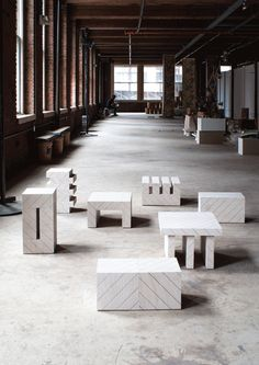 Grupo Metafisico 2014  Is a group of 7 pieces derived from the decomposition  of a module (9x9x16 inches) and the subsequent rearrangement  of the resulting parts.  A group of stools, side tables or multipurpose objects.