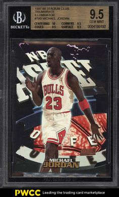 131b84675 1997 Stadium Club Illuminator Die-Cut Michael Jordan  T9B BGS 9.5 GEM MT (