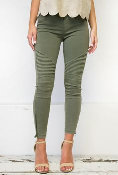 Ooh La La! These lovely sleek skinny leggings are a must have in everyone's closet! Solid color motto leggings with zipper detail on ankle.These will look great with anything you put with them! Materi