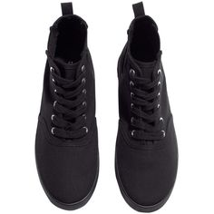 H&M Canvas sneakers (£5) ❤ liked on Polyvore featuring shoes, sneakers, black, h&m shoes, black rubber sole shoes, canvas sneakers, black trainers and plimsoll sneakers