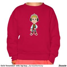 Girls' Sweatshirt  with  hip hop kid cartoon
