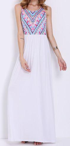 SheIn's super cute white sleeveless vintage print maxi dress is so me