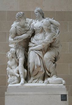 Arria and Paetus also known as The Death of Lucretia -   1685/95. (Pierre LEPAUTRE and Jean-Baptiste THÉODON). Louvre Museum.
