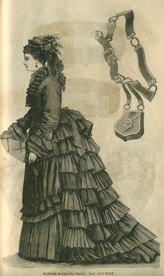 Winter walking dress and bag c. 1874