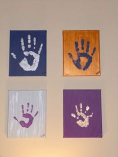 Family Handprint Art #craft It is a fun way to get the whole family involved in an art project, parents & kids.