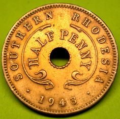 1943 Southern Rhodesia Half Penny RARE COLONIAL WWII Era Holed Coin GREAT SHAPE Zimbabwe, Coin Art, Colonial, My Roots, World Coins, Rare Coins, Its A Wonderful Life, Goods And Services, Coin Collecting