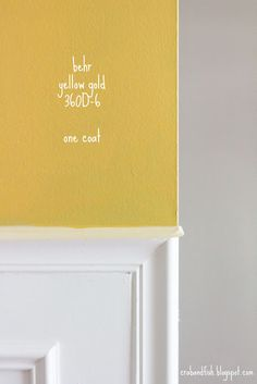 crab+fish: insane in the membrane? Playroom Paint Colors, Kitchen Paint Colors, Paint Colors For Home, Yellow Paint Colors, Yellow Painting, Home Decor Colors, Colorful Decor, House Color Schemes, House Colors