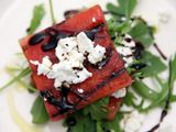 Grilled Watermelon Salad.... Watermelon, Balsamic Glaze, Goat Cheese, and Arugula! MUST TRY