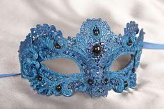 Strapless Masquerade Mask | Blue Lace Masquerade Masks Blue masks