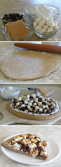 the best pizza in this world!the best pizza in this world! Dessert Oreo, Smores Dessert, Dessert Pizza, Smores Pizza Recipe, Appetizer Dessert, Köstliche Desserts, Delicious Desserts, Dessert Recipes, Yummy Food