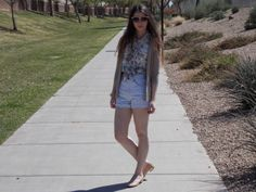 Compass Lane Chic- Feels like summer outfit. Highwaist shorts and vintage floral top