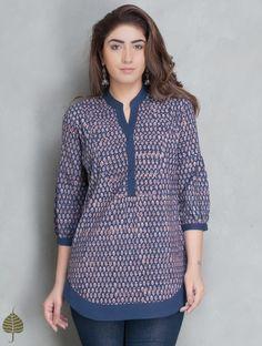 Buy Indigo Madder Fadat Printed Top by Jaypore Cotton Apparel Tops & Dresses Online at Jaypore.com