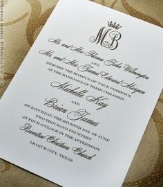 monogram royal wedding invitations