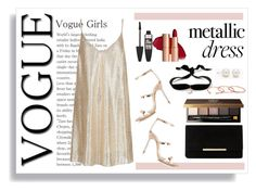 """""""Vogue Girls wear Metallic Gold"""" by annabethschreave ❤ liked on Polyvore featuring New Look, Sophia Webster, Dune, Maybelline, Bobbi Brown Cosmetics, Aamaya by Priyanka, Gorjana, Tiffany & Co., gold and metallic"""