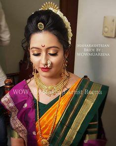 Indian Bridal Photos, Indian Bridal Fashion, Indian Wedding Outfits, Bridal Outfits, Marathi Bride, Hindu Bride, Marathi Saree, Marathi Wedding, South Indian Bride Hairstyle
