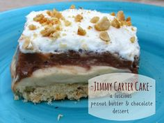 Jimmy Carter Cake- a luscious peanut butter & chocolate dessert that is quick and easy to make!