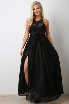 Crochet Yoke Halter Slit Maxi Dress